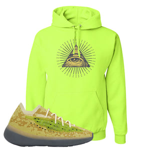 Yeezy Boost 380 Hylte Glow Hoodie | All Seeing Eye, Safety Green
