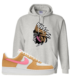 Nike Air Force 1 Pink Orange Hoodie | Indian Chief, Ash