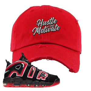 Air More Uptempo Laser Crimson Distressed Dad Hat | Red, Hustle & Motivate