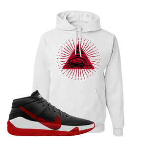 KD 13 Bred Hoodie | All Seeing Eye, White
