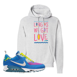 Undefeated x Air Max 90 Pacific Blue Sneaker Ash Pullover Hoodie | Hoodie to match Undefeated x Nike Air Max 90 Pacific Blue Shoes | Long As We Got Love