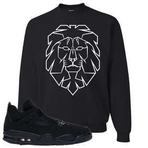 Air Jordan 4 Black Cat Cyber Lion Black Made to Match Crewneck Sweatshirt