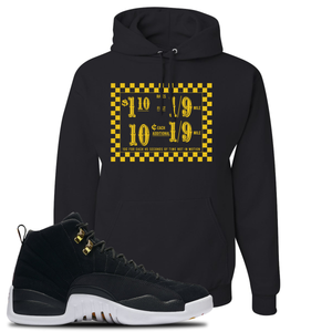 Taxi Fare Black Pullover Hoodie To Match Jordan 12 Reverse Taxi Sneakers