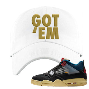 Union LA x Air Jordan 4 Off Noir Dad hat | Got Em, White