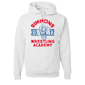 Simmons Wrestling Academy Pullover Hoodie | Ben Simmons Wrestling Academy White Pull Over Hoodie the front of this hoodie has the ben simmons wrestling logo on it