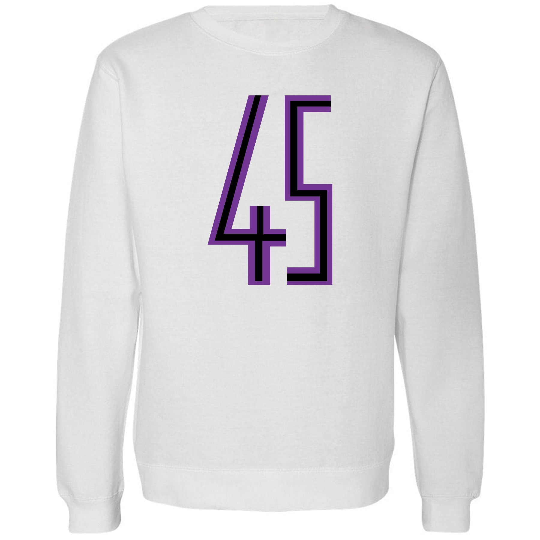 e8d38c6df92bbf ... Printed on the front of the Jordan 11 Concord 45 white sneaker matching  white crewneck sweatshirt
