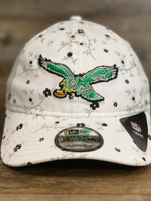 front of Throwback Philadelphia Eagles Kid and youth floral dad hat  blossom spring flower print 920 DAD HAT | New era kids dad hat  Philadelphia 76ers hat