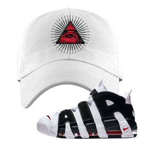 Air More Uptempo White Black Red Dad Hat | White, All Seeing Eye
