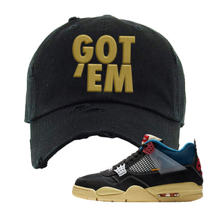 Union LA x Air Jordan 4 Off Noir Distressed Dad Hat | Got Em, Black