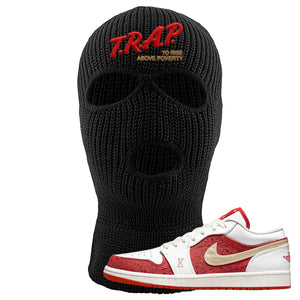 Air Jordan 1 Low Spades Ski Mask | Trap To Rise Above Poverty, Black