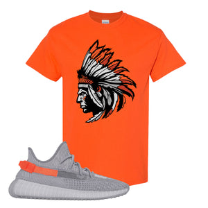 Yeezy Boost 350 V2 Tail Light Sneaker Orange T Shirt | Tees to match Adidas Yeezy Boost 350 V2 Tail Light Shoes | Indian Chief