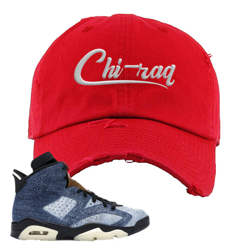 Air Jordan 6 Washed Denim Carp Pattern Red Sneaker Hook Up Distressed Dad Hat