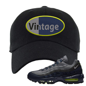Air Max 95 Midnight Navy / Volt Dad Hat | Black, Vintage Oval