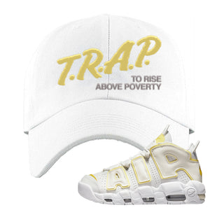 Air More Uptempo Light Citron Dad Hat | Trap To Rise Above Poverty, White