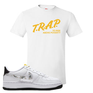Air Force 1 T Shirt | White, Trap To Rise Above Poverty