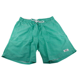 the seafoam green swim trunks are light green with side pockets