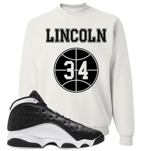 Jordan 13 Reverse He Got Game Lincoln 34 White Sneaker Hook Up Crewneck Sweatshirt