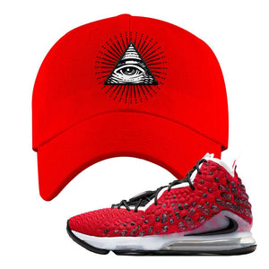 Lebron 17 Uptempo Dad Hat | Red, All Seeing Eye