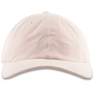 Embroidered on the front of the Cleveland Cavaliers pink microsuede baseball cap is the Cavaliers logo in white