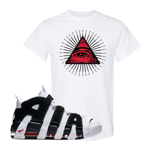 Air More Uptempo White Black Red T Shirt | White, All seeing Eye