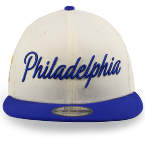 Philadelphia 76ers 2019 City Series Philadelphia Script Cream / Blue 9Fifty Snapback Hat
