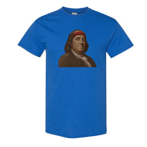 Ben Franklin Sweatband T-Shirt | Ben Franklin Sweat Band Royal Blue T-Shirt the front of this shirt has ben franklin with a sweatband on