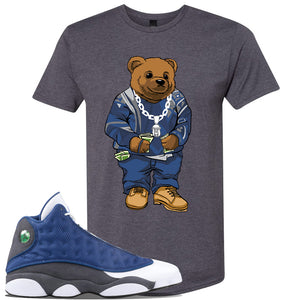 Jordan 13 Flint 2020 Sneaker Charcoal T Shirt | Tees to match Nike Air Jordan 13 Flint 2020 Shoes | Sweater Bear