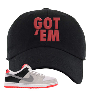 Nike SB Dunk Low Infrared Orange Label Got Em Black Dad Hat To Match Sneakers
