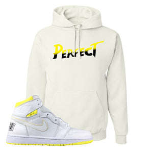 Air Jordan 1 First Class Flight Street Fight Perfect White Sneaker Matching Pullover Hoodie