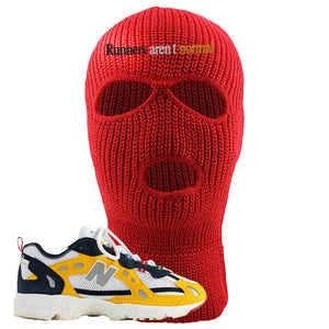 827 Abzorb Multicolor Yellow Aime Leon Dore Sneaker Red Ski Mask | Winter Mask to match 827 Abzorb Multicolor Yellow Aime Leon Dore Shoes | Runner's Aren't Normal