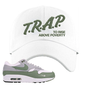 Air Max 1 Spiral Sage Dad Hat | Trap To Rise Above Poverty, White