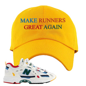 Aime Leon Dore X New Balance 827 Abzorb Multicolor 'White' Dad Hat | Gold, Make Runners Great Again Basic
