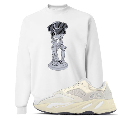 Yeezy Boost 700 Analog Sneaker Match The World Is Yours White Crewneck Sweater