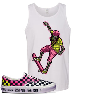 Vans Era Venice Beach Pack Tank Top | White, Skeleton Skateboarder
