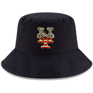 New York Mets Stars and Stripes 2019 Fourth Of July On Field Training Bucket Hat
