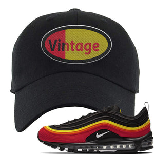 Air Max 97 Black/Chile Red/Magma Orange/White Sneaker Black Dad Hat | Hat to match Nike Air Max 97 Black/Chile Red/Magma Orange/White Shoes | Vintage Oval