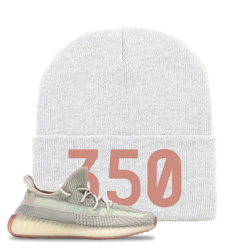 Yeezy Boost 350 V2 Citrin Non-Reflective 350 White Sneaker Matching Beanie
