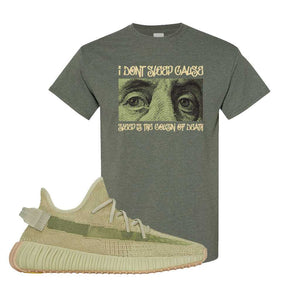 Yeezy 350 v2 Sulfur T Shirt | Heather Military Green, Franklin Eyes