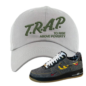 Air Force 1 Low Plaid And Camo Remix Pack Dad Hat | Trap To Rise Above Poverty, Light Gray