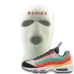 Air Max 95 Black History Month Sneaker White Ski Mask | Winter Mask to match Air Max 95 Black History Month Shoes | Homies