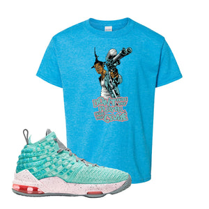 Lebron 17 South Beach Kids T-Shirt | Dont Hate the Playa, Heather Sapphire