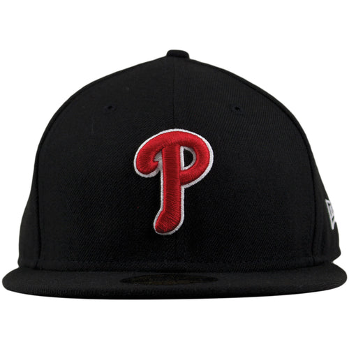 Philadelphia Phillies Red Logo White Outline Black 59Fifty Fitted Cap