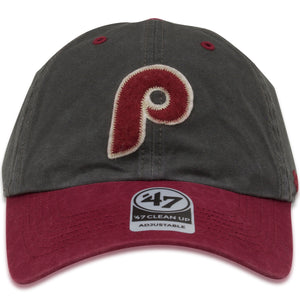 Philadelphia Phillies Vintage Cooperstown Gray / Maroon Adjustable Dad Hat