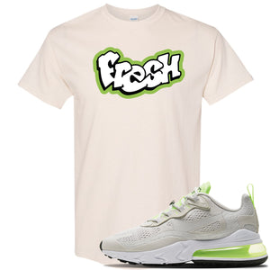 Air Max 270 React Ghost Green Sneaker Natural T Shirt | Tees to match Nike Air Max 270 React Ghost Green Shoes | Fresh