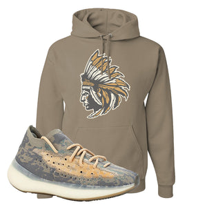 Yeezy Boost 380 Mist Sneaker Khaki Pullover Hoodie | Hoodie to match Adidas Yeezy Boost 380 Mist Shoes | Indian Chief