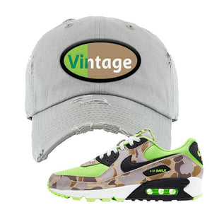 Air Max 90 Duck Camo Ghost Green Distressed Dad Hat | Light Gray, Vintage Oval