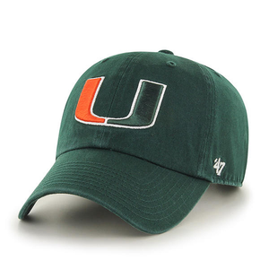 Embroidered on the front of the University of Miami Hurricanes dad hat is the Miami Hurricanes logo embroidered in orange, green, and white