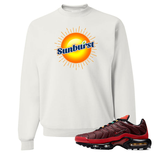 printed on the front of the air max plus sunburst sneaker matching white crewneck sweatshirt is the sunburst soda logo