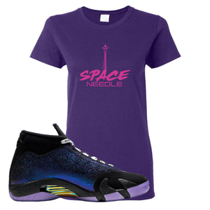 Jordan 14 Doernbecher Space Needle Purple Sneaker Hook Up Women's T-Shirt