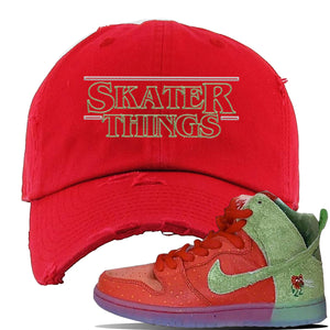 SB Dunk High 'Strawberry Cough' Distressed Dad Hat | Red, Skater Things